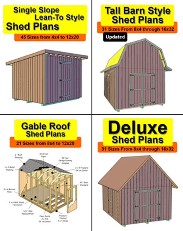 12x20 Single Slope Lean-to Style Shed Plans In 45 Sizes From 4x4 To 12x20