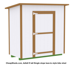 This 4x8x8 ft tall shed will store 2 bikes vertically and have space or shelves on either side for additional storage.