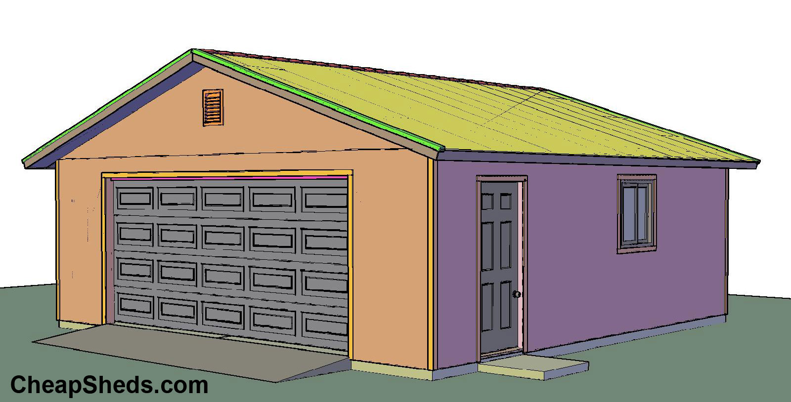 2 car garage door 2 car with hip roof and custom garage for Gable garage