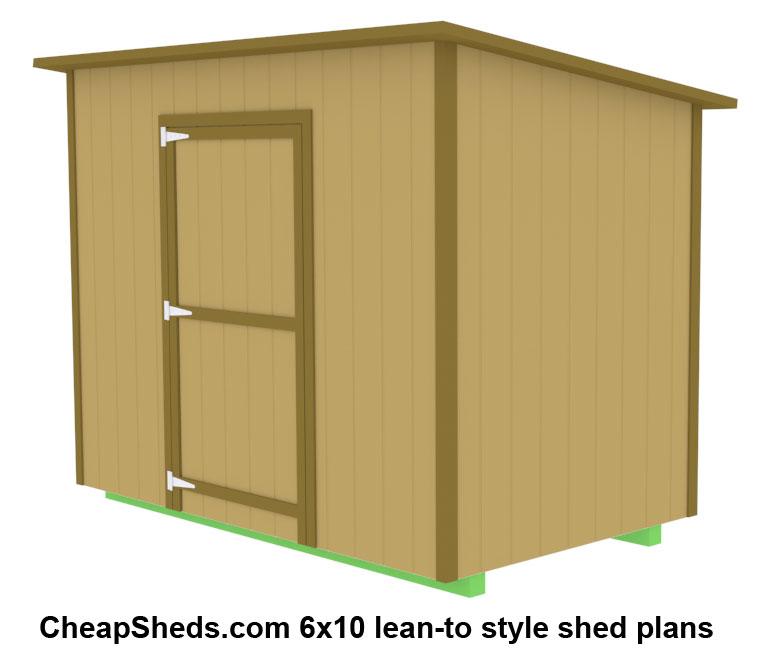 Shed blueprints 6x10 desk work for Lean to dog house plans