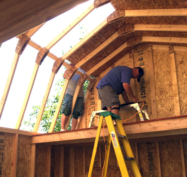 Free gambrel roof shed plans for How to build barn style roof trusses